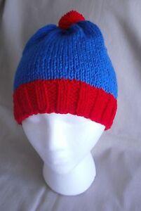 Handmade Knit Hat/Beanie - Blue & Red stan like beanie