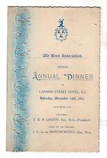Old Roan Association Annual Dinner Menu 1912