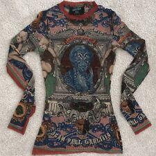 Vintage Rare Jean Paul Gaultier Diana Face Mesh/Sheer Crew Neck Top/shirt XS-S