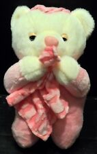 "Teddy Bear Plush Praying Kneeling Pink holding blanket 8"" tall Angel Toy Co."