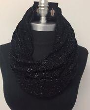 New Women fashion Soft Knit Shiny Black 2-circle Cowl long Infinity Scarf Wrap