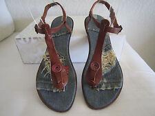 MISS SIXTY Denim/Brown Leather Straps  Thong Sandals Sz EU 41 US 10.5