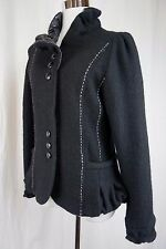 Lisa International M Black Boiled Wool Jacket Top Stitched Faux Leather