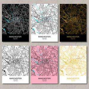 Manchester map, print, Manchester map poster, Manchester city map, wall art