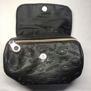 2 Mary Kay Collection Bags Black Leather Textured Print Zip Magnet Snap Barrel