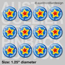 """(12) SUPERSTAR 1.25"""" pinback buttons / badges - super star motivational pins"""