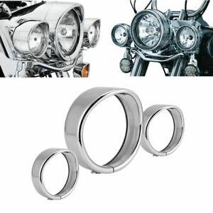 """7"""" Headlight 4.5"""" Passing Light Trim Ring Visor for Harley Softail Deluxe FLSTN"""