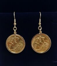 More details for fine vintage c.1911/12 half sovereign drop earrings 916 (22ct) gold -length 43mm