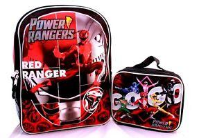Power Rangers Backpack Bookbag Lunch Box Red Blue Black School Bag Kids Boys