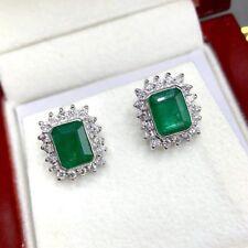 VIVID! 2.76TCW Emerald VS Diamonds 18K solid white gold earrings Natural studs