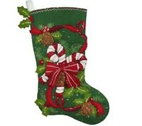Bucilla - 'Candy Cane and Ribbons', Christmas Felt Stocking Applique Kit, 86971E