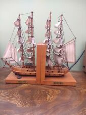 Vintage Pair of Wooden Bookends with Model of MAYFLOWER Sailing Ship