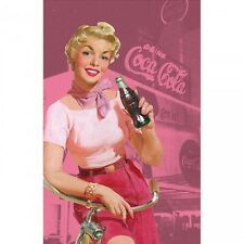 Set of TWO 4x6 Pink Retro Coca Cola Pin Up Ad Fabric Blocks -Buy 2, Get 1 FREE!