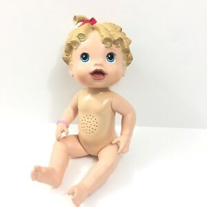 """2009 Hasbro Talking Baby Alive """"All Gone"""" Doll Curly Blonde Hair Blue Eyes"""