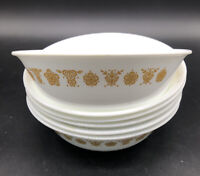 """6 Corelle Butterfly Gold  6"""" Cereal Bowls Corning Pyrex Cereal Bowls"""