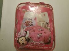 Girls Disney Minnie Mouse 4 Piece Toddler Bedding Set Amazing Condition