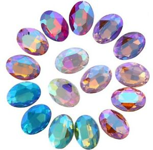 80PCS Mixed Colors AB Pointed OVAL Fancy Glass Stones #95627