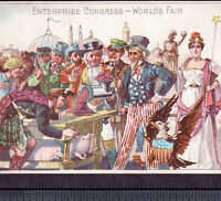 Uncle Sam 1893 Columbia Exposition Enterprise Meat Grinder Ad Ethnic Trade Card