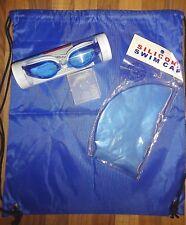 Swimming Set 5 Piece Cap Ear Plugs Nose Clip Goggles Bag Waterproof New