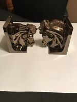 Vintage 1970's Ceramic Art Glazed Horse Head Bookends Sculptures Excellent Cond.