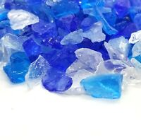 """Blue & Clear Blend 1/2"""" - 1"""" Premium Large Fire Glass for Fireplace and Fire Pit"""