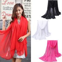 New Fashion Lady Women's Long Soft Wrap Ladies Shawl Silk Chiffon Scarf Scarves
