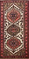 Vintage Ivory Hand-Knotted Traditional Tribal Wool Area Rug Oriental Carpet 3x6