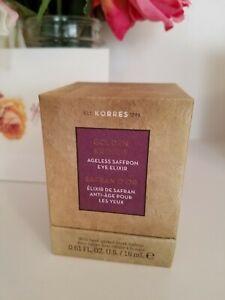 Korres Golden Krocus Ageless Saffron Eye Elixir 0.61 fl oz New In Box  Exp 10/22
