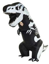 Skeleton T-Rex Inflatable Child Costume Dinosaur Black White Funny Halloween