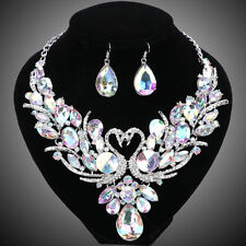 Double Swan AB Crystal Jewelry Set For Brides Necklace Earring Wedding Prom