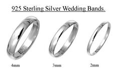 925 Sterling Silver Wedding Band Ring Engagement Rings 2mm, 3mm,4mm