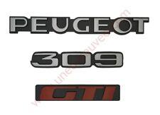 LOGO PEUGEOT 309 GTI GRIS ET ROUGE MONOGRAMME POUR PEUGEOT KIT DE 3