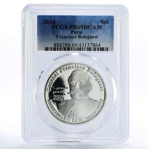 Peru 1 sol 200th Anniversary of Francisco Bolognesi PR69 PCGS silver coin 2016