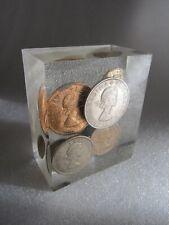 Original Vintage British Coins Encased in Lucite Block Paperweight