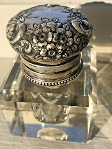 Antique Sterling Silver Repousse Cut Crystal Inkwell Probably English Gorgeous