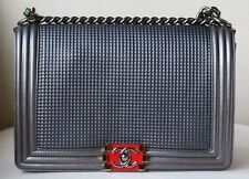 CHANEL BOY MEDIUM EMBOSSED GREY METALLIC LAMBSKIN FLAP BAG