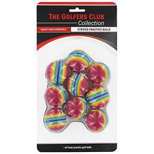 Golfers Club Collection Rainbow Striped Practice Golf Balls 9 Pack - Foam Indoor