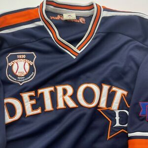 Detroit Stars #28 Negro League Baseball Jersey Men's XXL Navy Blue And Orange