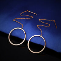 Tassels Hollow Circle Rose Gold GP Surgical Stainless Steel Threader Earrings