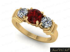 Natural 1ct Round Ruby Diamond 3Stone Engagement Ring 14K Yellow Gold AA GH I1