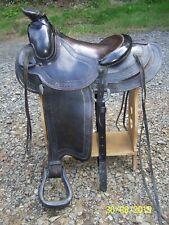"""Beautiful Antique Tooled Leather Saddle, Heydt & Streib Portland Oregon 13"""" seat"""