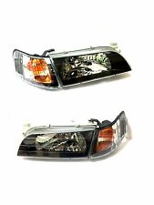 93-97 Corolla Black *JDM Version* Headlights + Amber Corner Signal Lamps Set