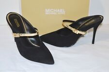 Michael Kors Tiegan Mary Jane Mule Black Suede/gold Heel Sandal