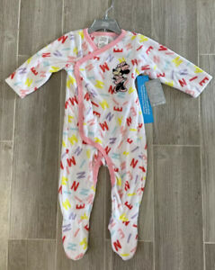 Disney Store Baby Girl Fleece Footed Pajamas Minnie Mouse 12-18 Months *NEW*