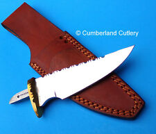 "Mirror Polished Knife Making  Blade Blank with Leather Sheath  5"" blade"