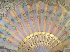 A Pretty Vintage Hand Fan Delicate Colorful Design