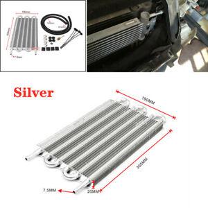 6 Row Radiator Remote Aluminum Car Transmission Oil Cooler + Hose / Mounting Kit