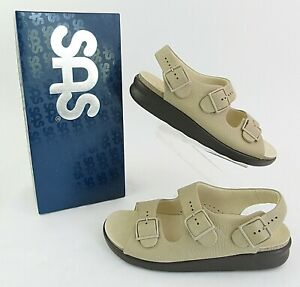 NEW! Women's SAS Relaxed Heel Strap Leather Sandals Natural Tan 10 W WIDE WIDTH