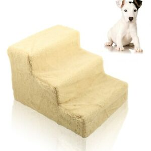 Pet Puppy Doggy Dog Stairs Plastic 3 Steps Ladder Ramp Washable Cover