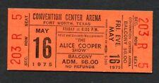 1975 Alice Cooper Unused Concert Ticket Welcome To My Nightmare Ft. Worth Texas